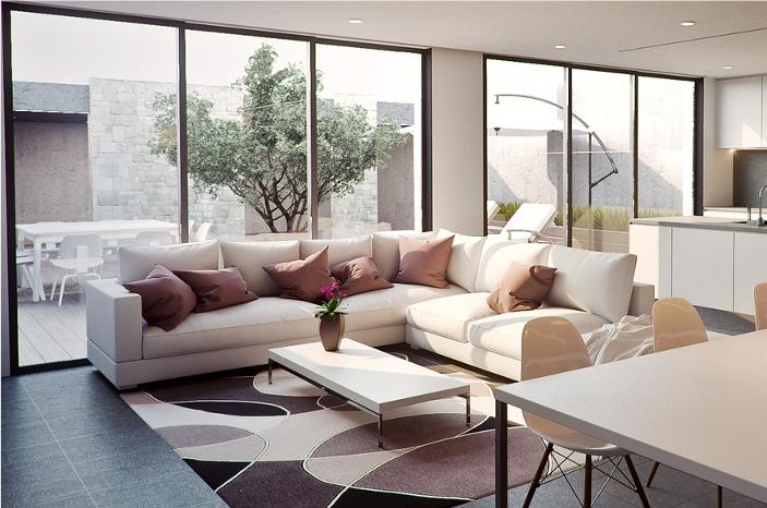 Sofa w salonie i dywan
